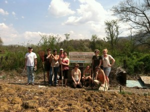Warren Wilson College volunteers at FANS community garden